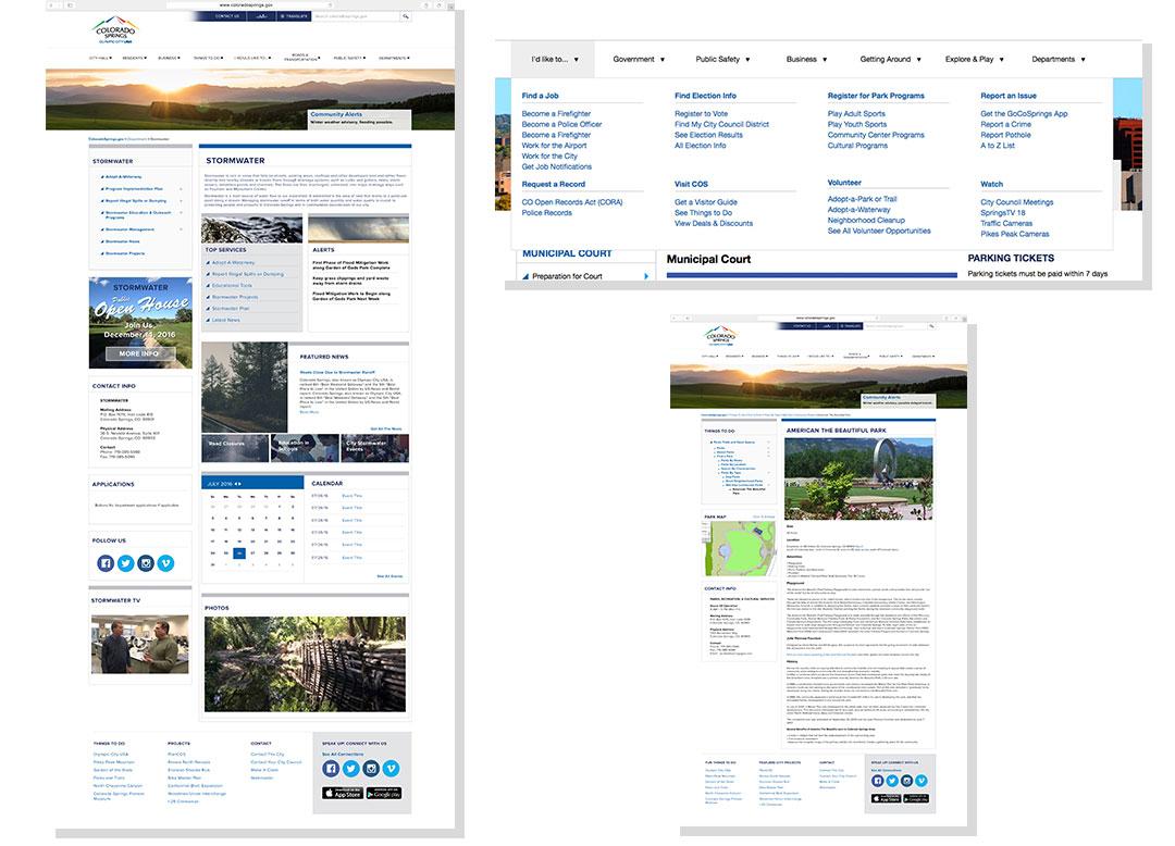 City of Colorado Springs Webpage Design Examples