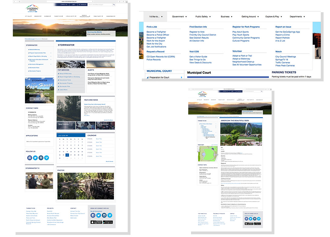 City of Colorado Springs Webpage Design Examples
