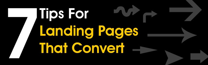 """7 Tips for Landing Pages That Convert"" arrows"