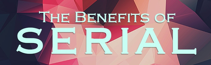 """The Benefits of Serial"" on geometric pattern background"
