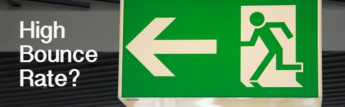 """""""High Bounce Rate?"""" Exit sign, green"""